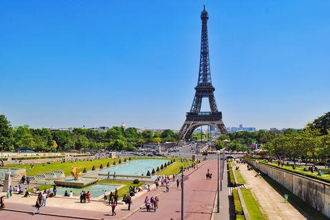 Tourist enjoying near Eiffel tower, Paris