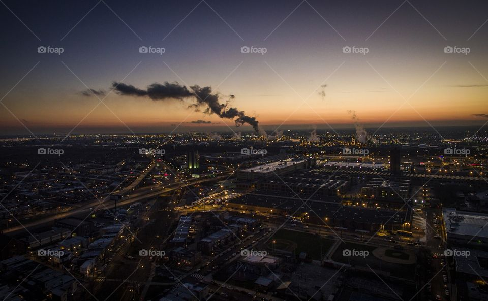 Sunset over South Philadelphia with view of the oil refinery in action