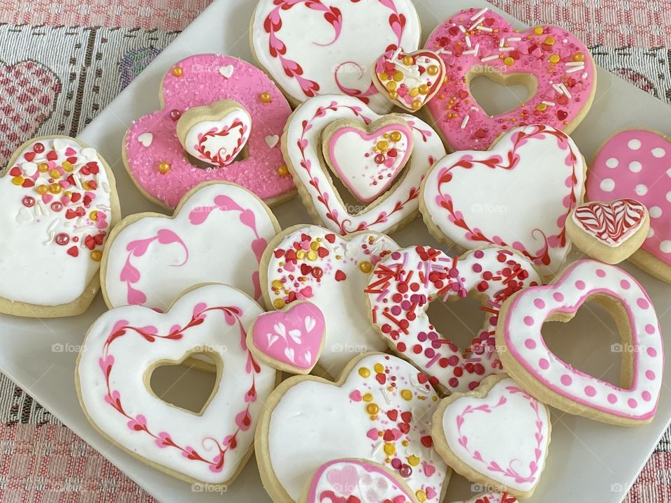 A Beautiful plate of Valentine's Day cookies