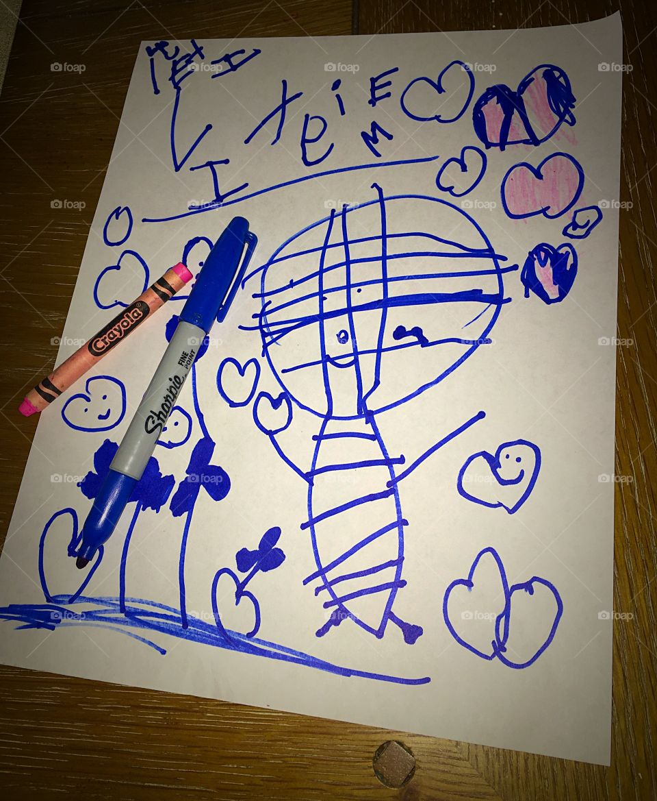 Mummy for Mommy. Cute picture of a mummy, drawn by a four-year old.