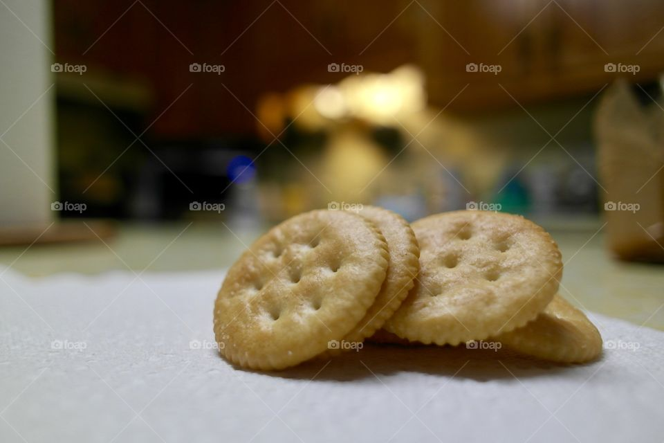 Round buttery crackers on the kitchen countertop