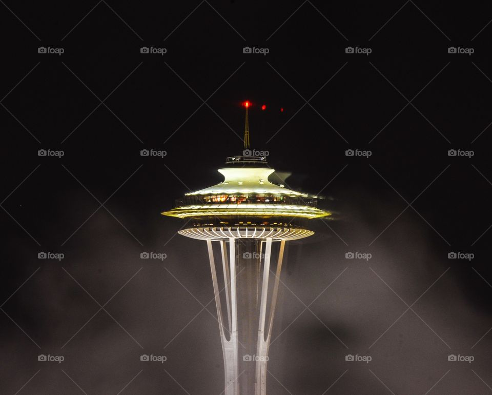 Space Needle Evening. Evening Image of the Space Needle taken from the Hyatt Hotel.