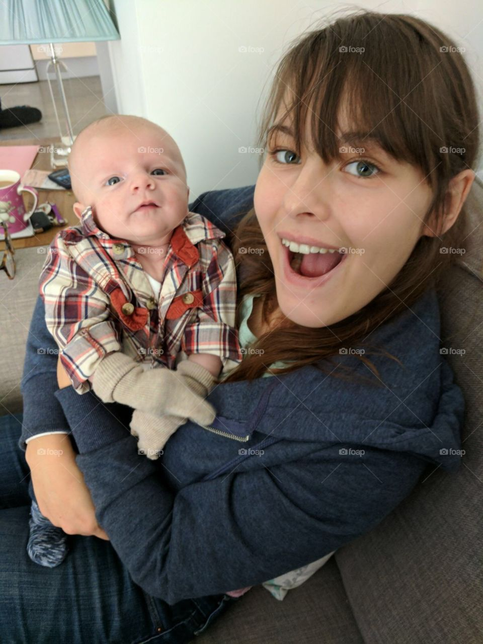Baby Oliver with his auntie