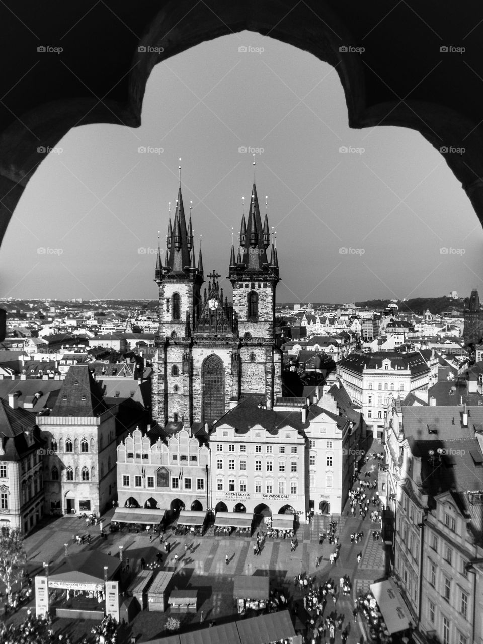 Týn Church. View of the Church of Our Lady before Týn and the city of Prague from the tower of the Old Town Hall, Prague.