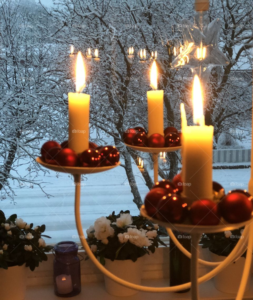 Snow and candles