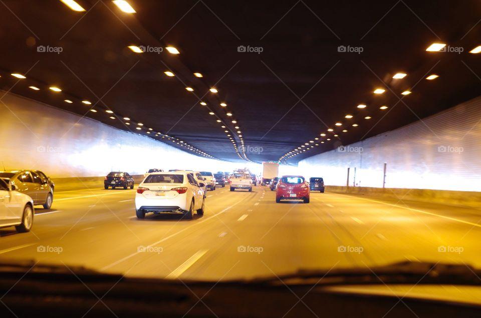 Driving through a tunnel.