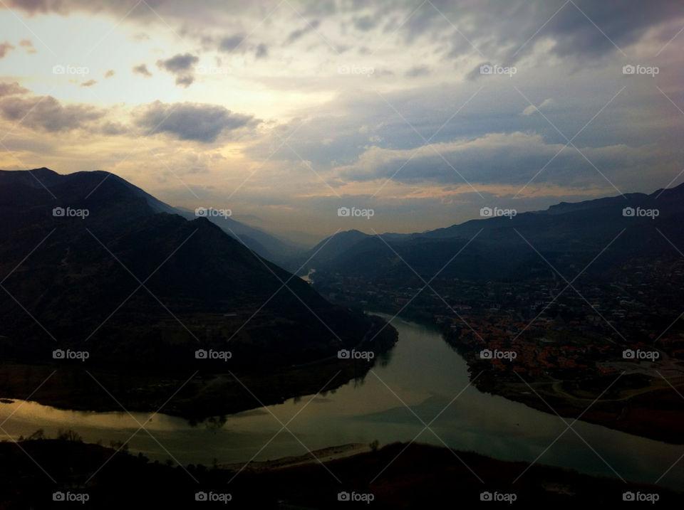 landscape sunset river mountains by jar0016