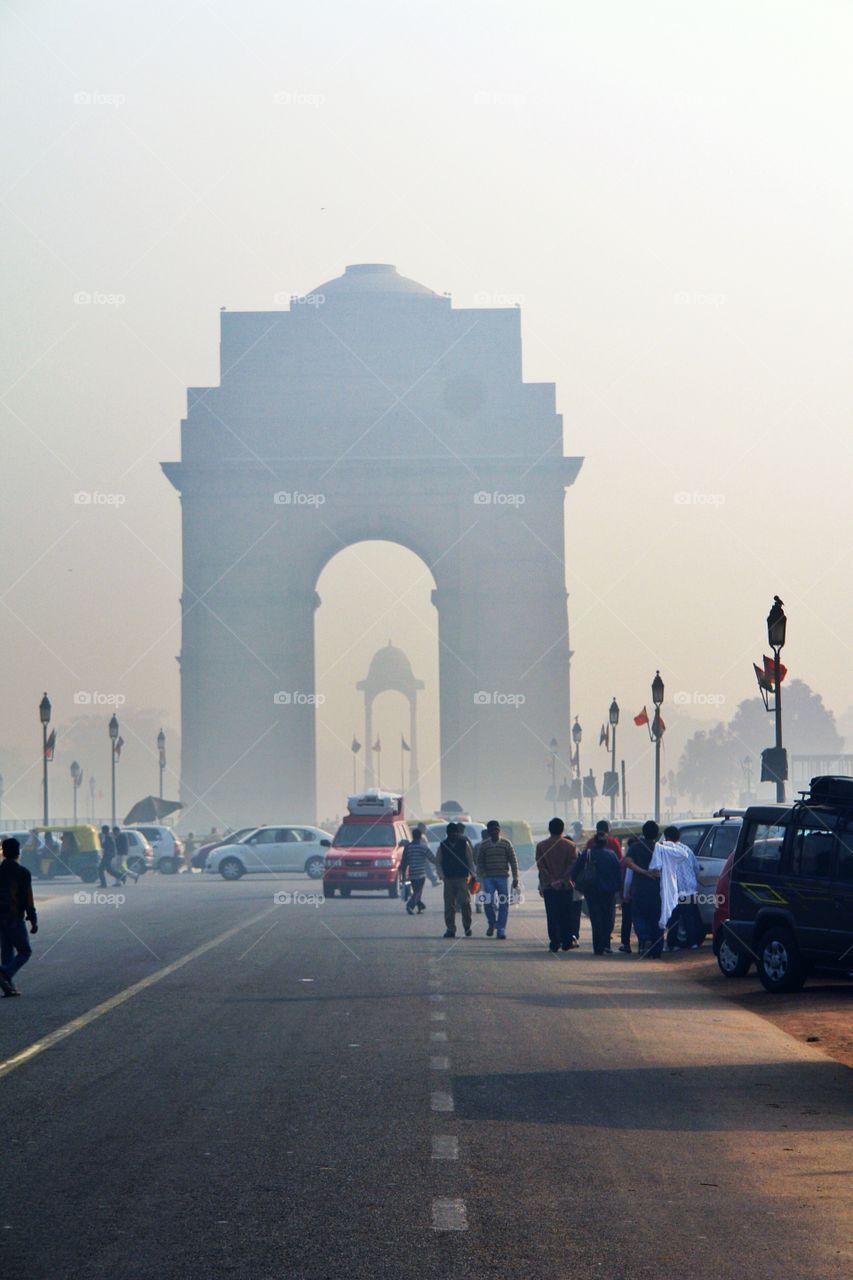 India Gate, Delhi, India, Long Shot, vertical. India Gate, Delhi, India, Long Shot, vertical