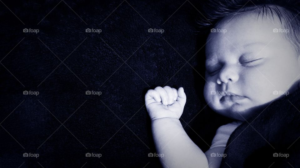 Elevated view of a baby sleeping