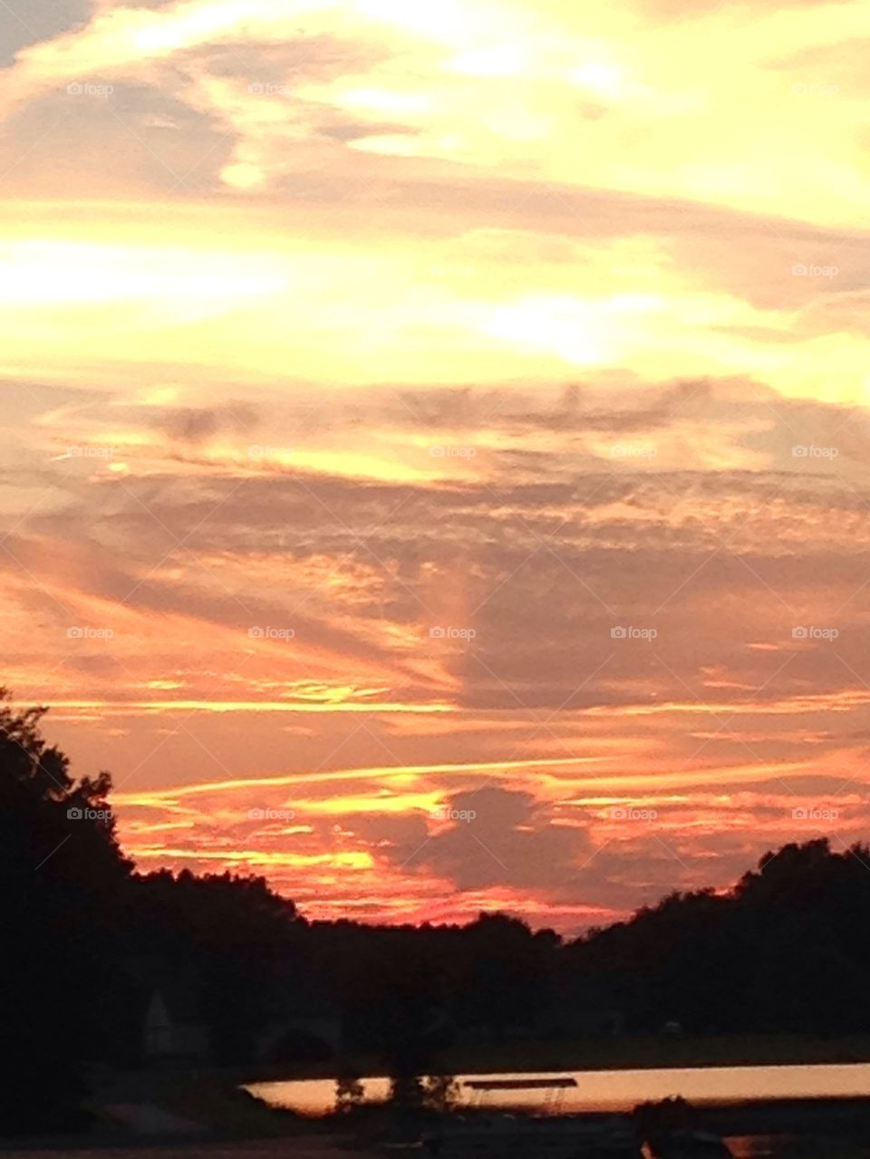 Sunset orange skies