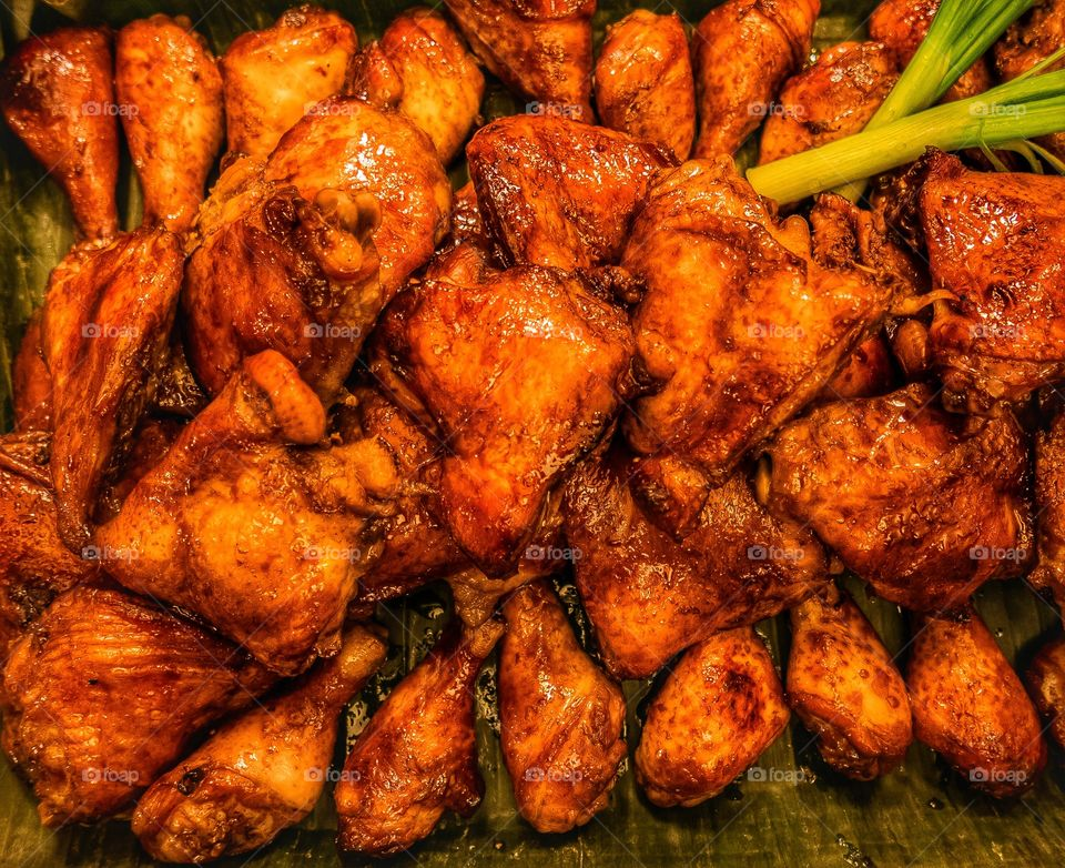 High angle view grilled chicken
