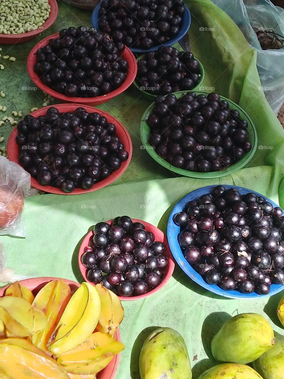 Jabuticaba.  Brazilian fruit. Street market