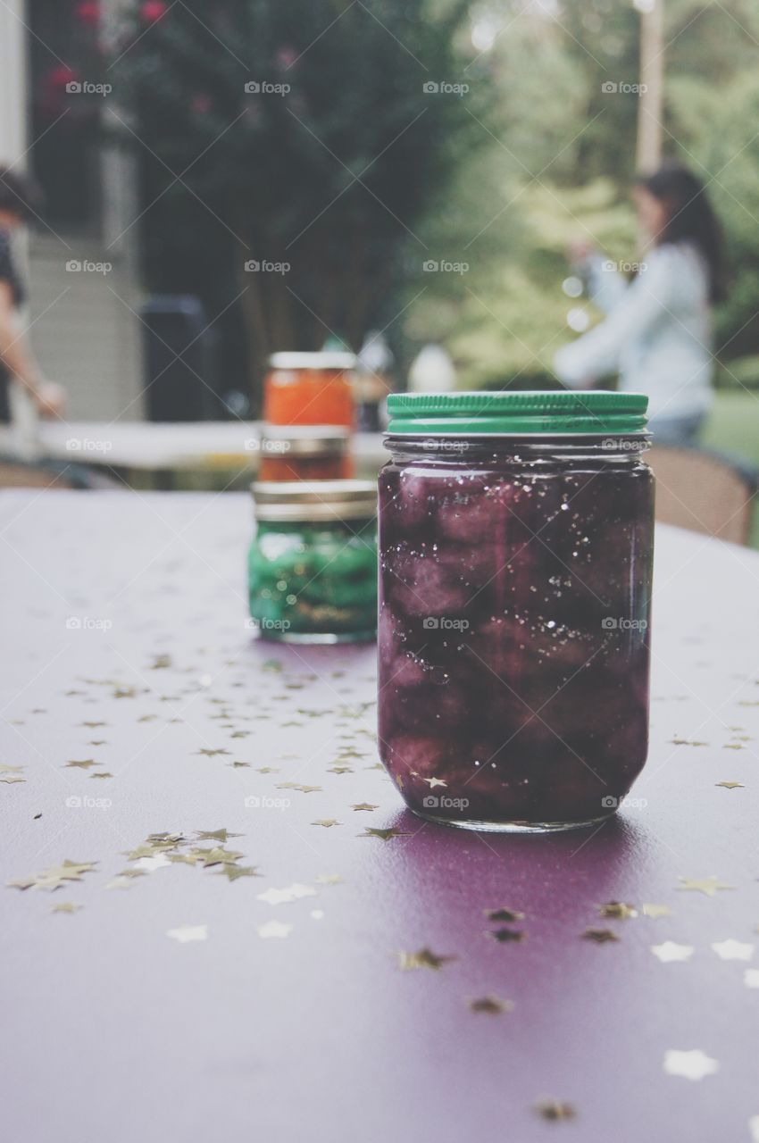 Homemade Nebula jars at the birthday party
