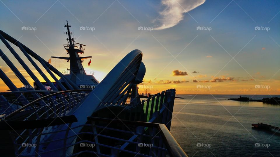 Cruise ship view of sun setting over the Bahamas..I love a different perspective..