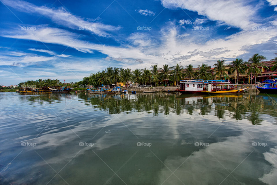 typical scene in Hoi An ancient town in central Vietnam. picturesque landscape by the river