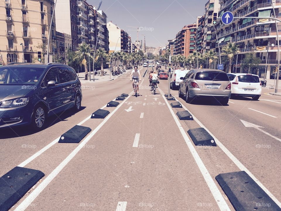 Bicycle riding in Barcelona