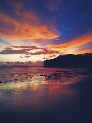 sunset at thailand beach. sunset at the beach krabi province thailand