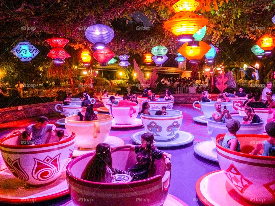 The Mad Hatter's Spinning Tea Cups at Disneyland. Hang on, things are beginning to spin out of control.