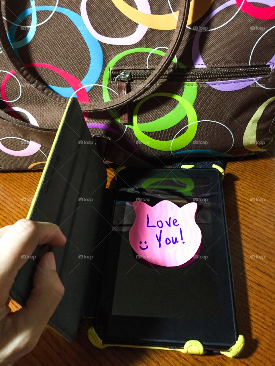 Love message on mobile screen