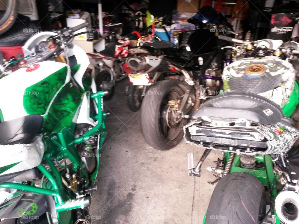garage full of bikes. variety of bikes in the garage