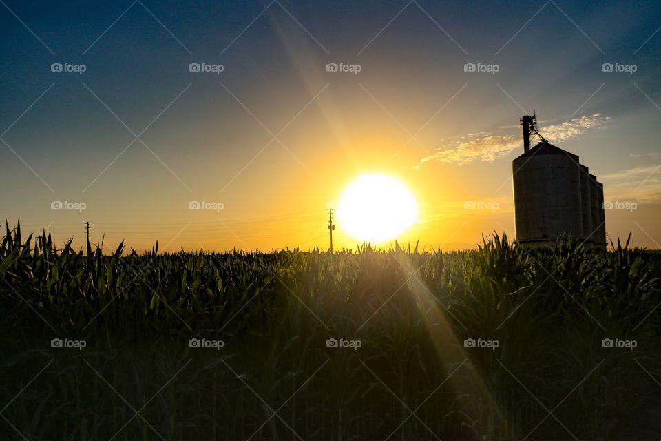 Sunrise at Morrison Ranch abandoned silos