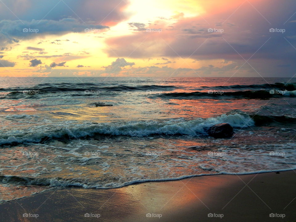 Colorful sunset at Baltic Sea