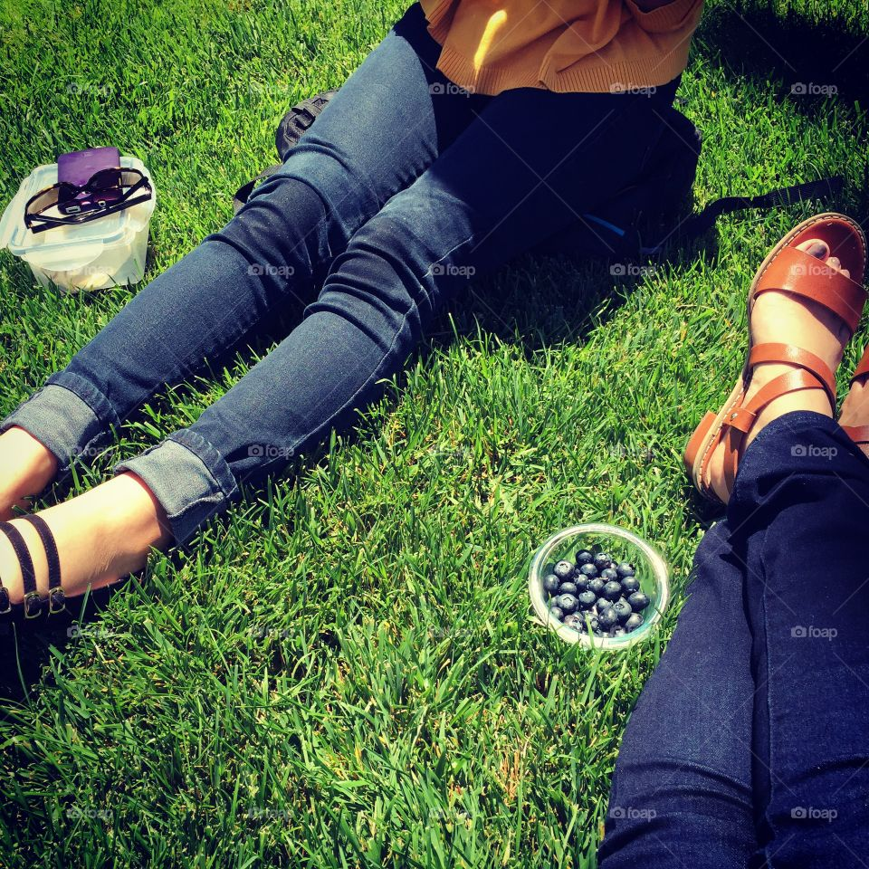 Picnics & Patches. Having a picnic with a friend during our lunch break