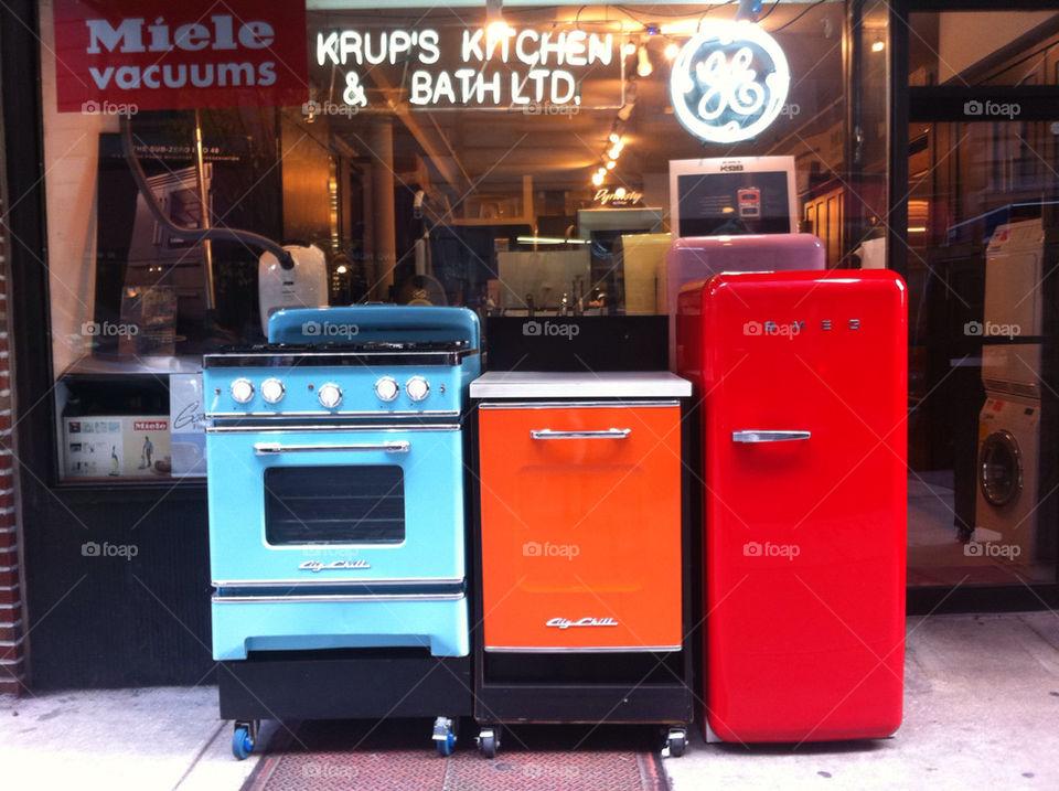 kitchen blue orange vintage by acs