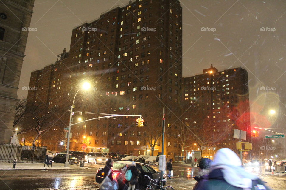 The other evening while it was snowing. My hometown. Bronx stand up