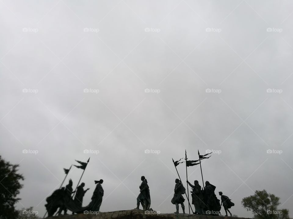 Silhouette of statue soldier outdoor