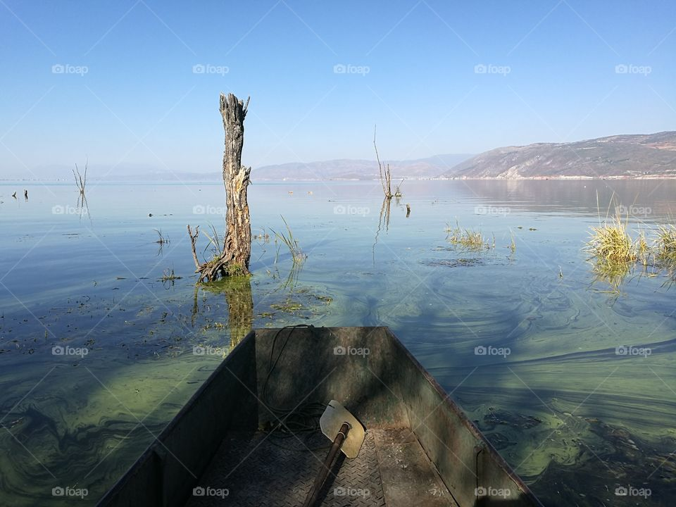 Fishing Boat on Er Hai Lake in Dali, Yunnan Province, China