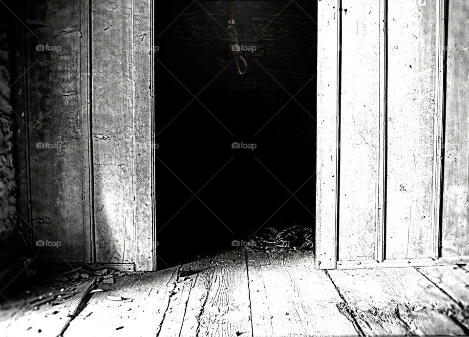 greece old house dark fear black photography art minimal ghost noose mono filter creepy scary door wood wooden floor shadow shadows