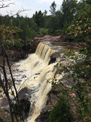 Checking out Gooseberry Falls in Minnesota.