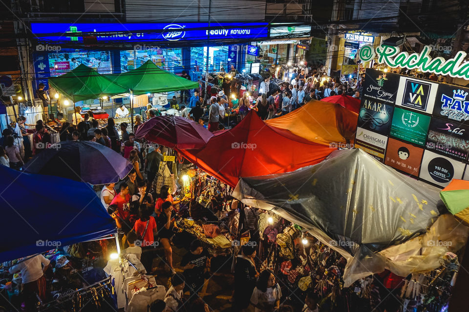 Tha Pae Sunday Walking Street Market from above in Chiang Mai, Thailand