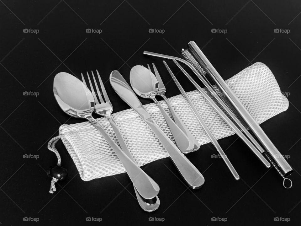 stainless steel utensils to go in a travel bag