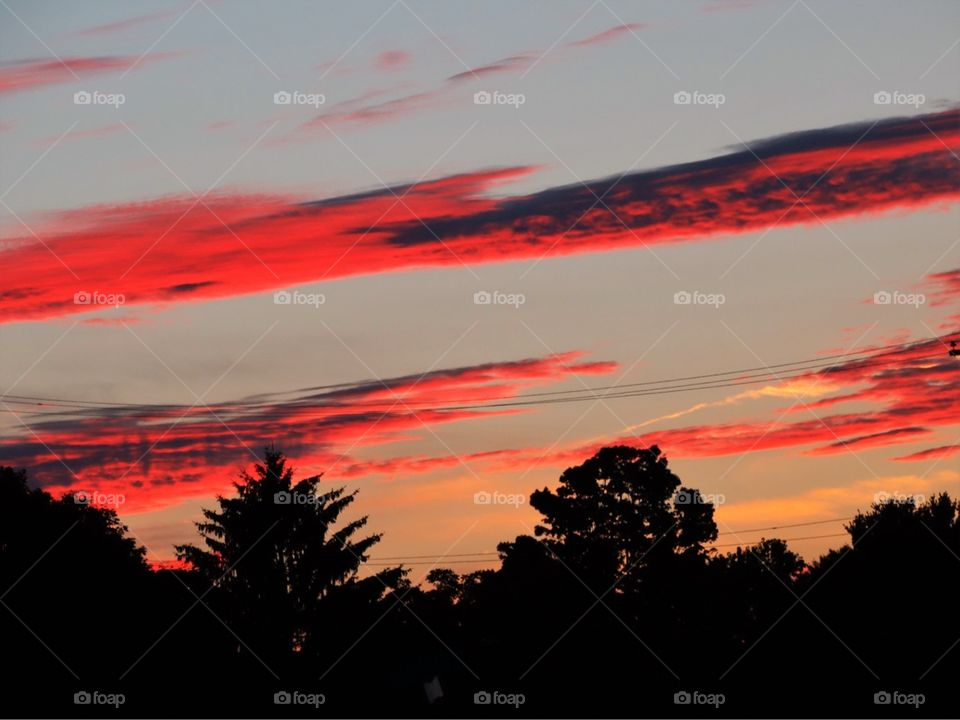 Red clouds in the evening sky