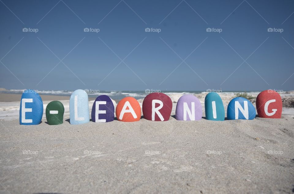 E-learning concept on colourful stones