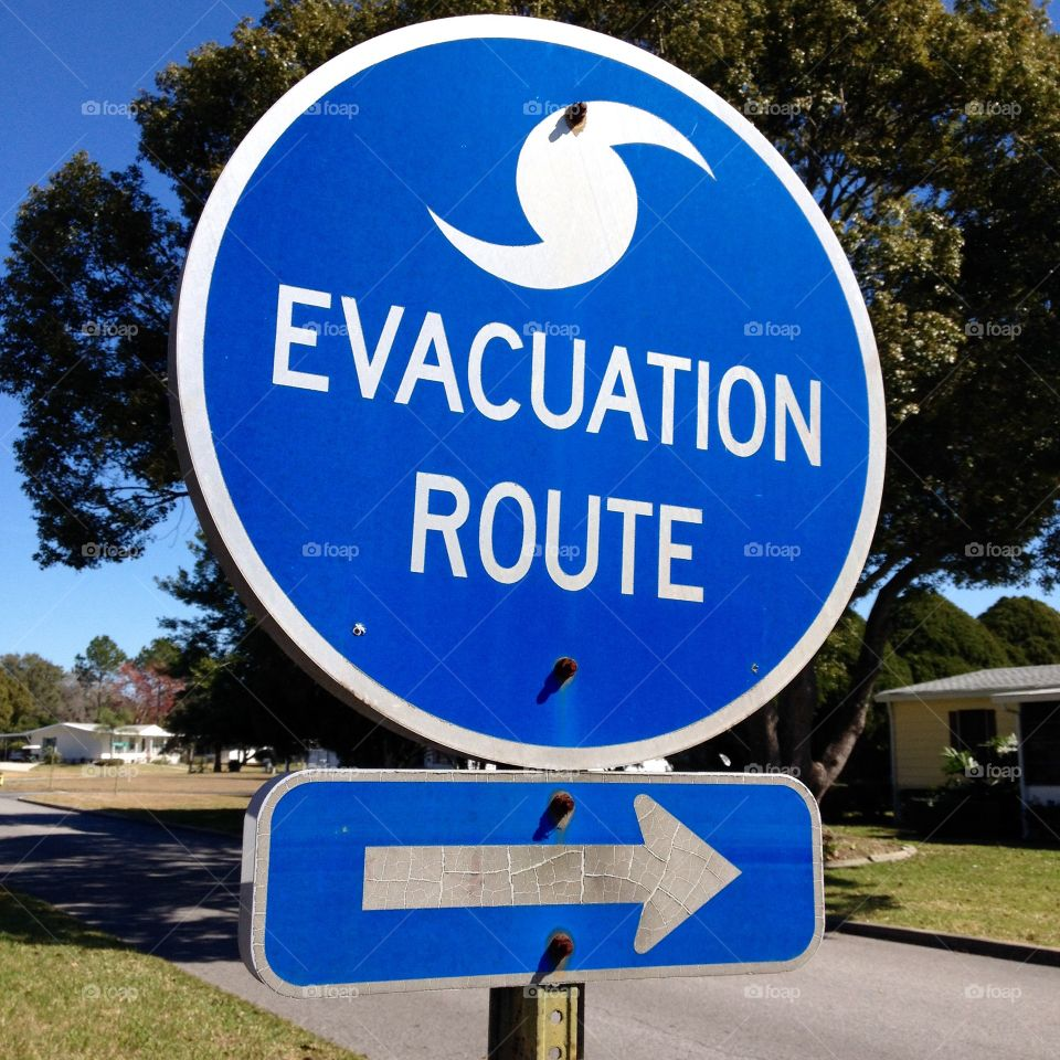 Florida Hurricane Evacuation Road Sign Direction