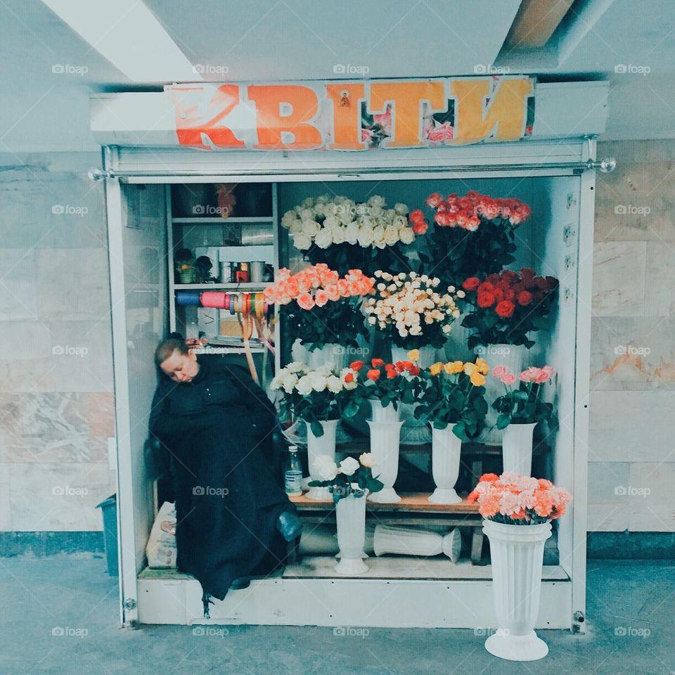 florist asleep at work