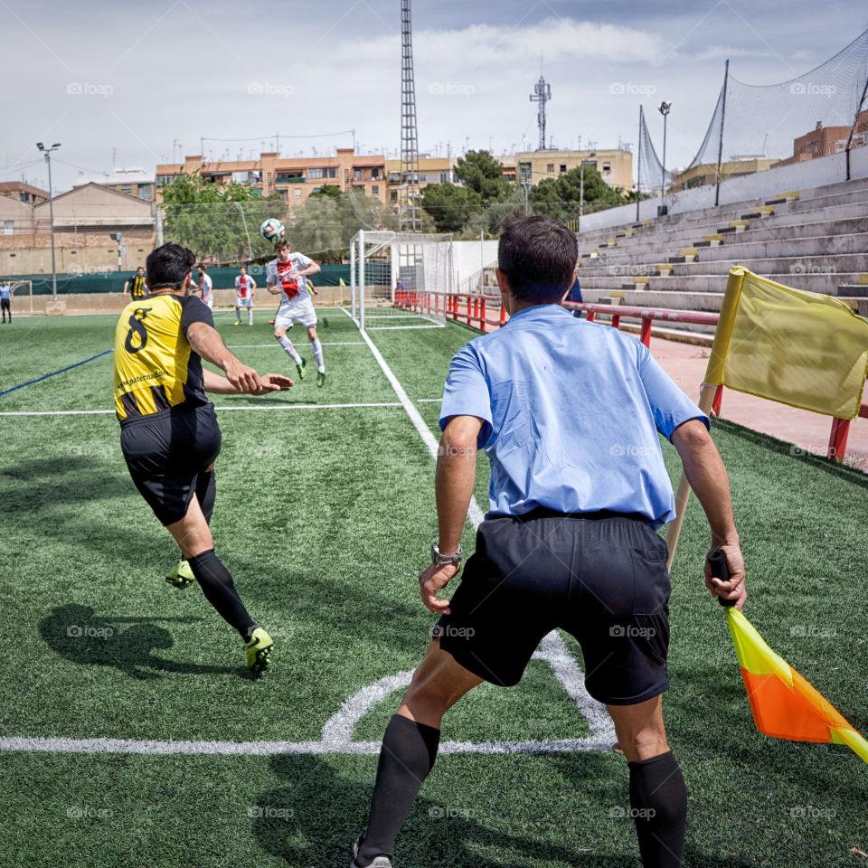 corner kick. soccer corner kick