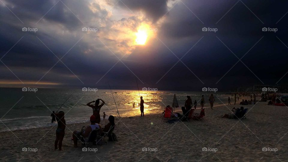 Sunset, Beach, Evening, Dawn, Water