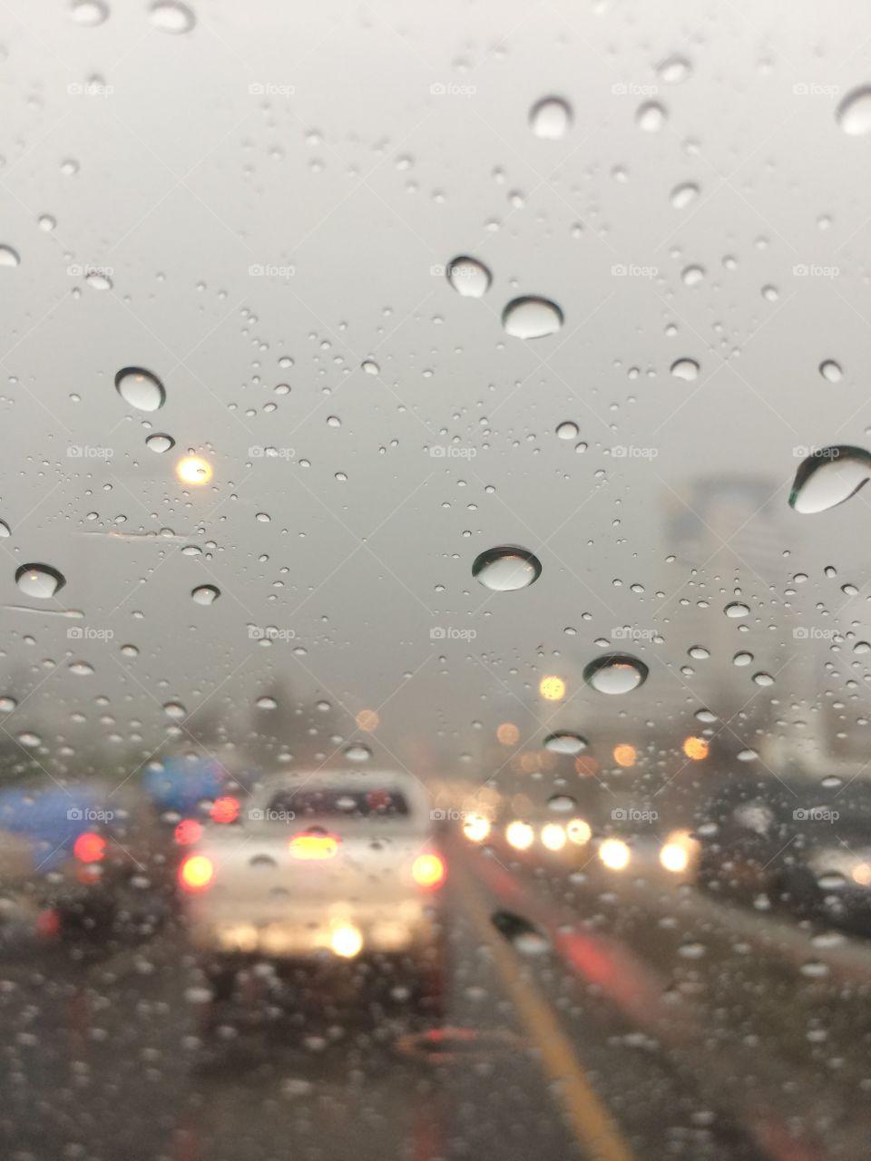 Raining in the morning.