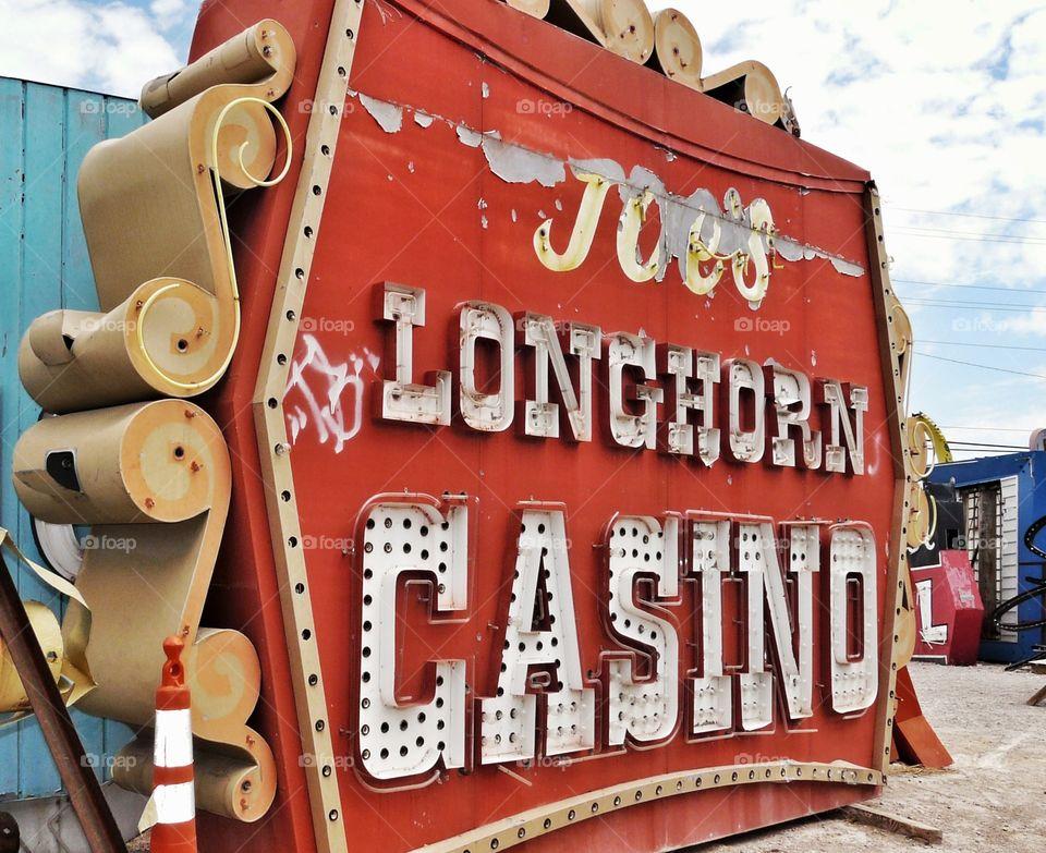 Joe's Longhorn Casino old neon sign - Las Vegas Nevada.