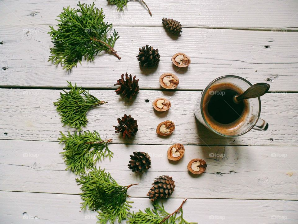 A composition of delicious black coffee