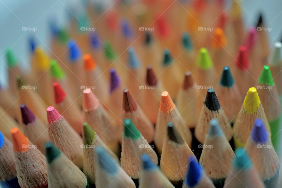Overhead view of multi colored pencils