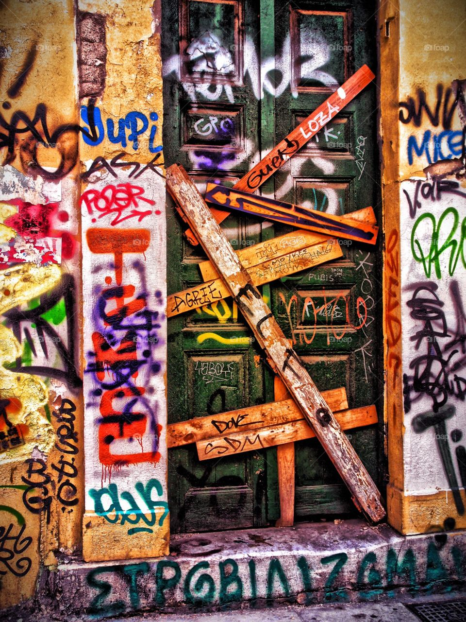Graffiti In Greece, Greek Welcome, Street Photography, Artistic Image, Graffiti, Graphic Design, Abandoned Photography