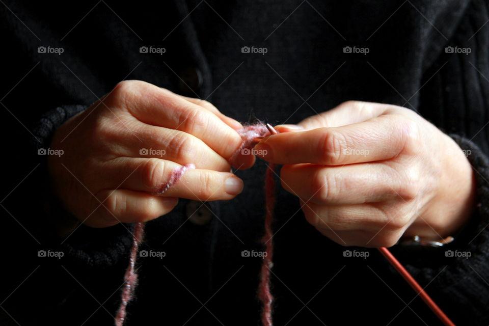 Close-up of woman knitting