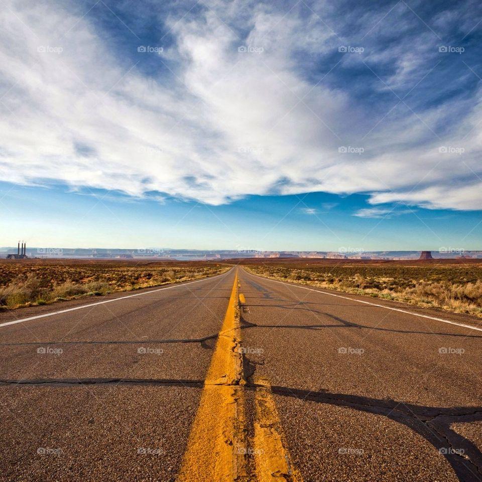Empty road in desert
