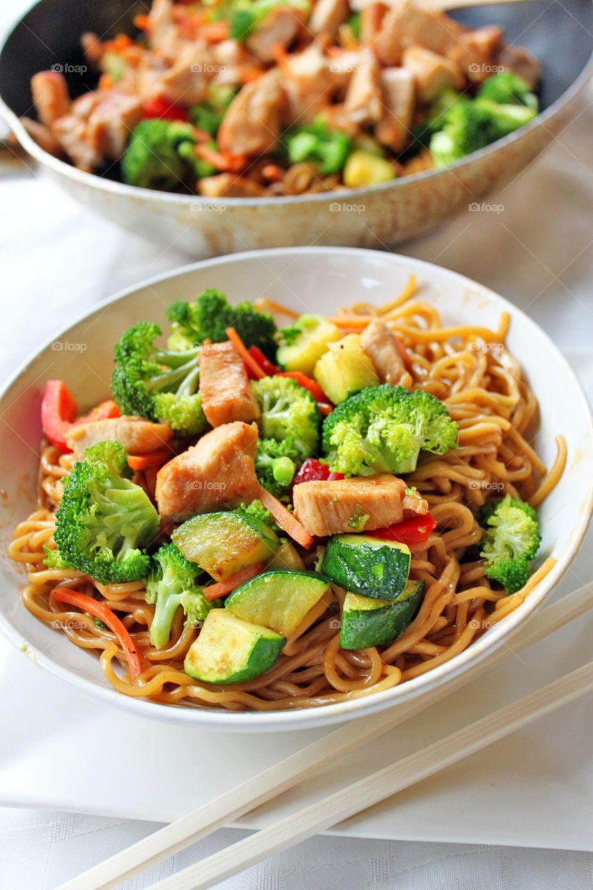 Bowl of teriyaki noodle