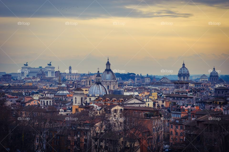 Rome cityscape with the dome of St. Peter's Basilica